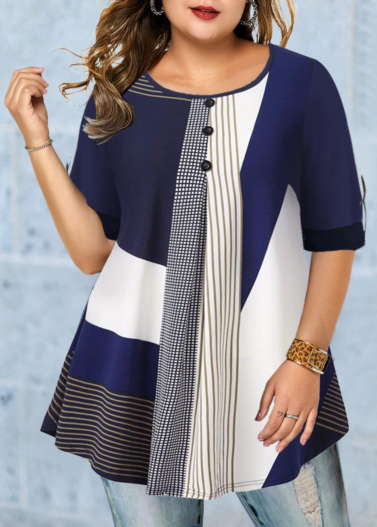 Plus Size Button Detail Stripe Print T Shirt