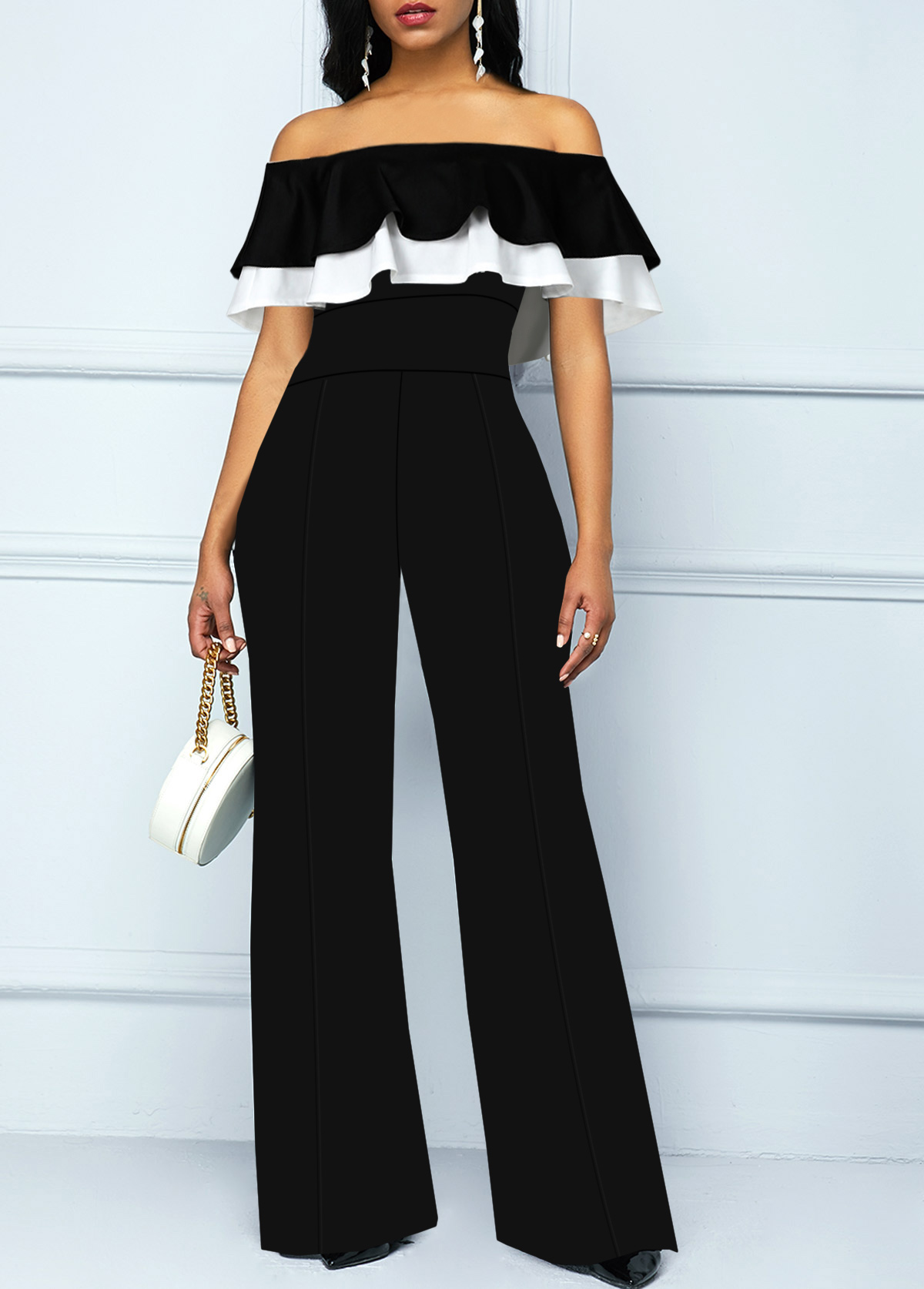 Ruffle Overlay Off the Shoulder Black Jumpsuit