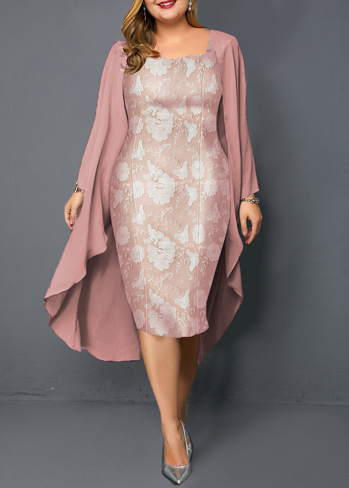 Pink Plus Size Chiffon Cardigan and Sheath Dress
