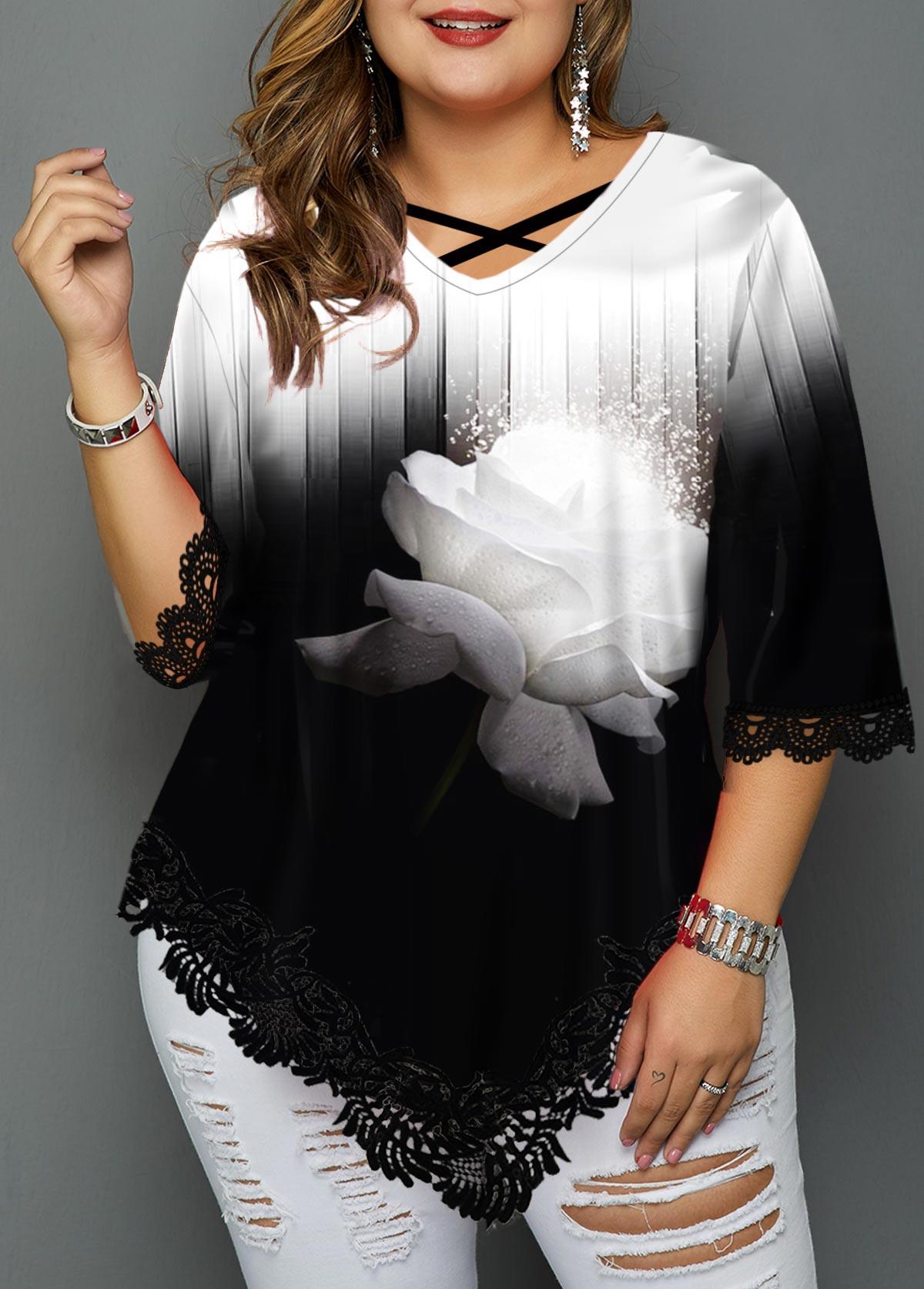 Plus Size Lace Patchwork Color Block T Shirt