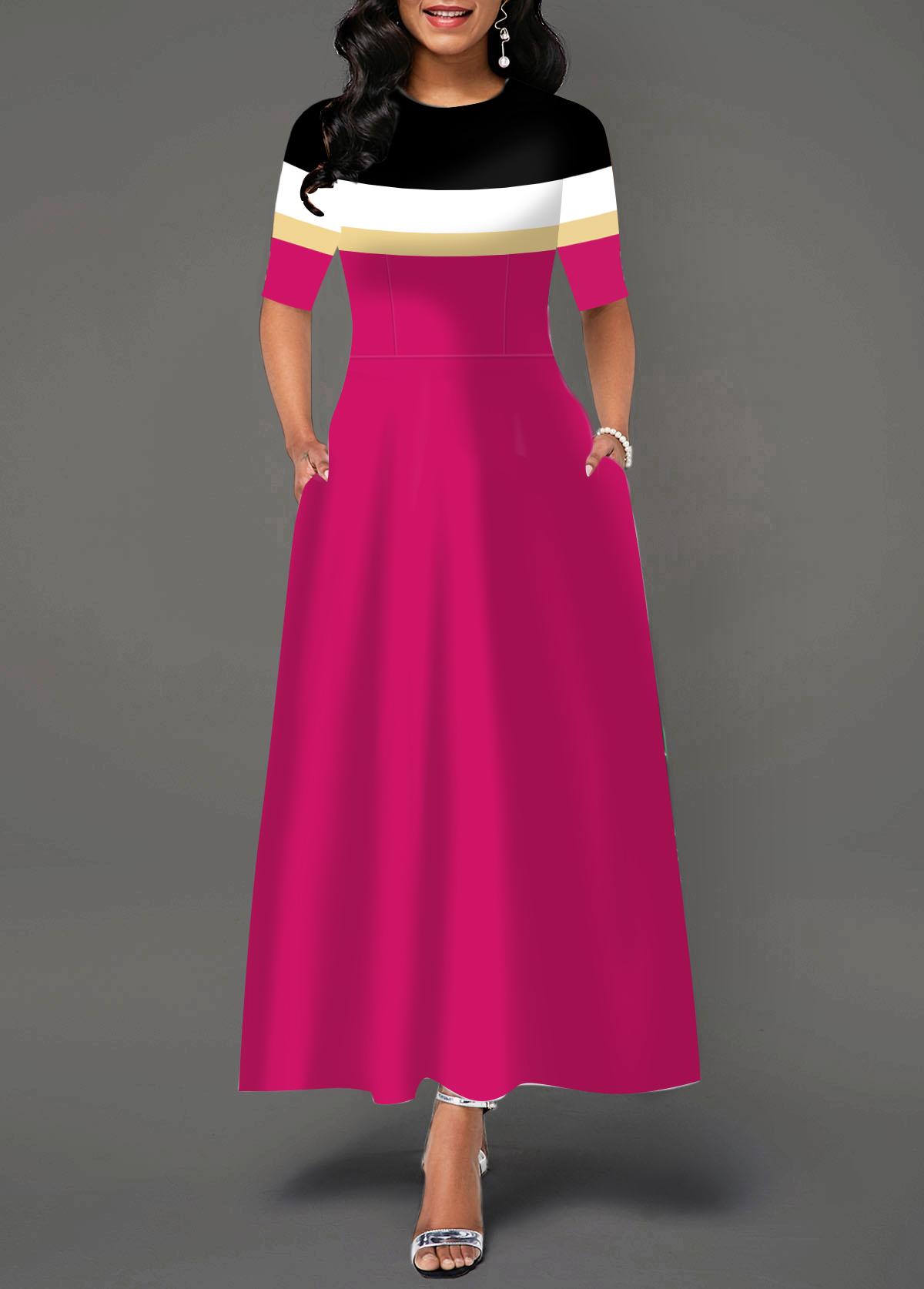 Round Neck Color Block Pocket Dress