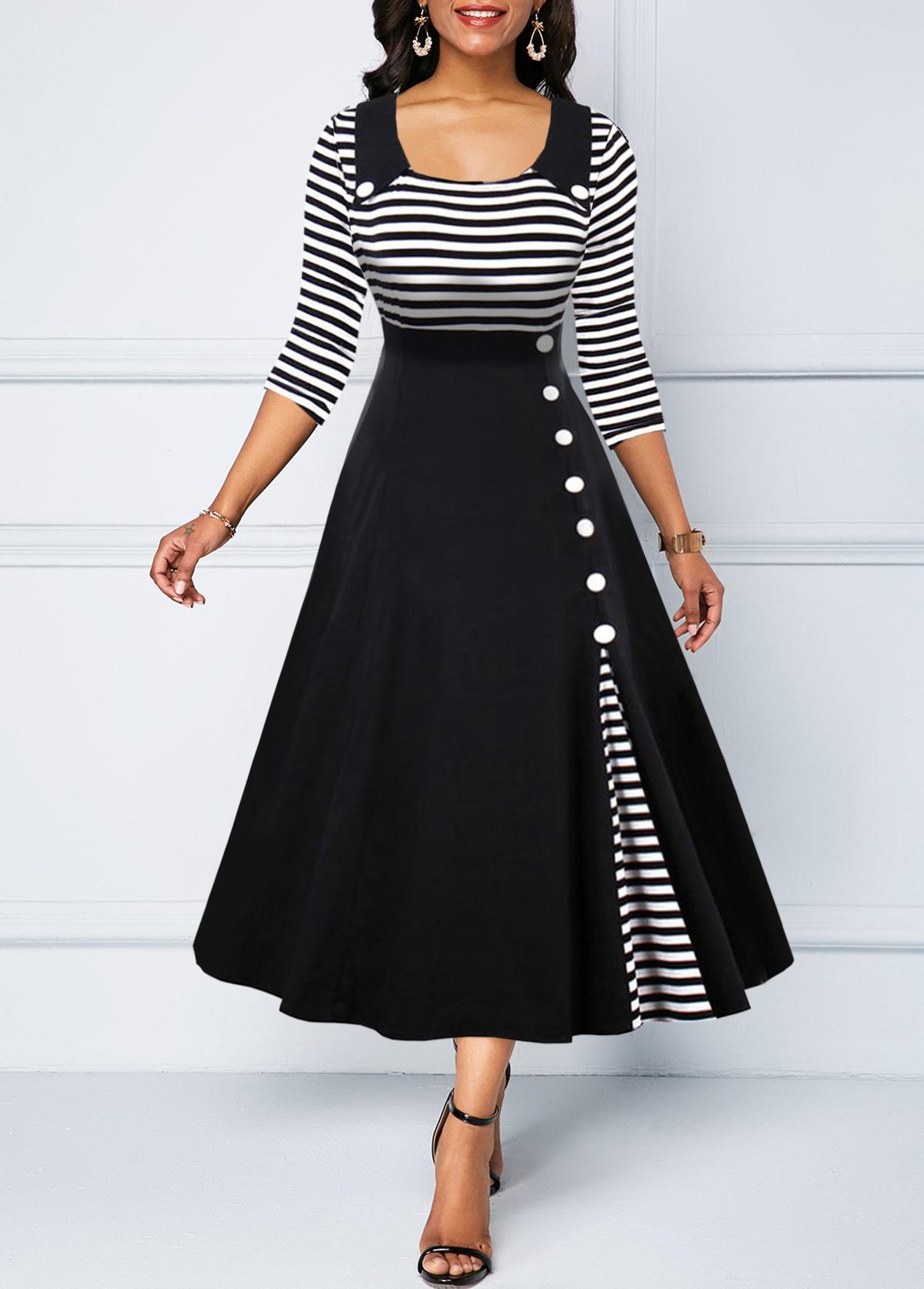 Button Detail Stripe Print High Waist Dress