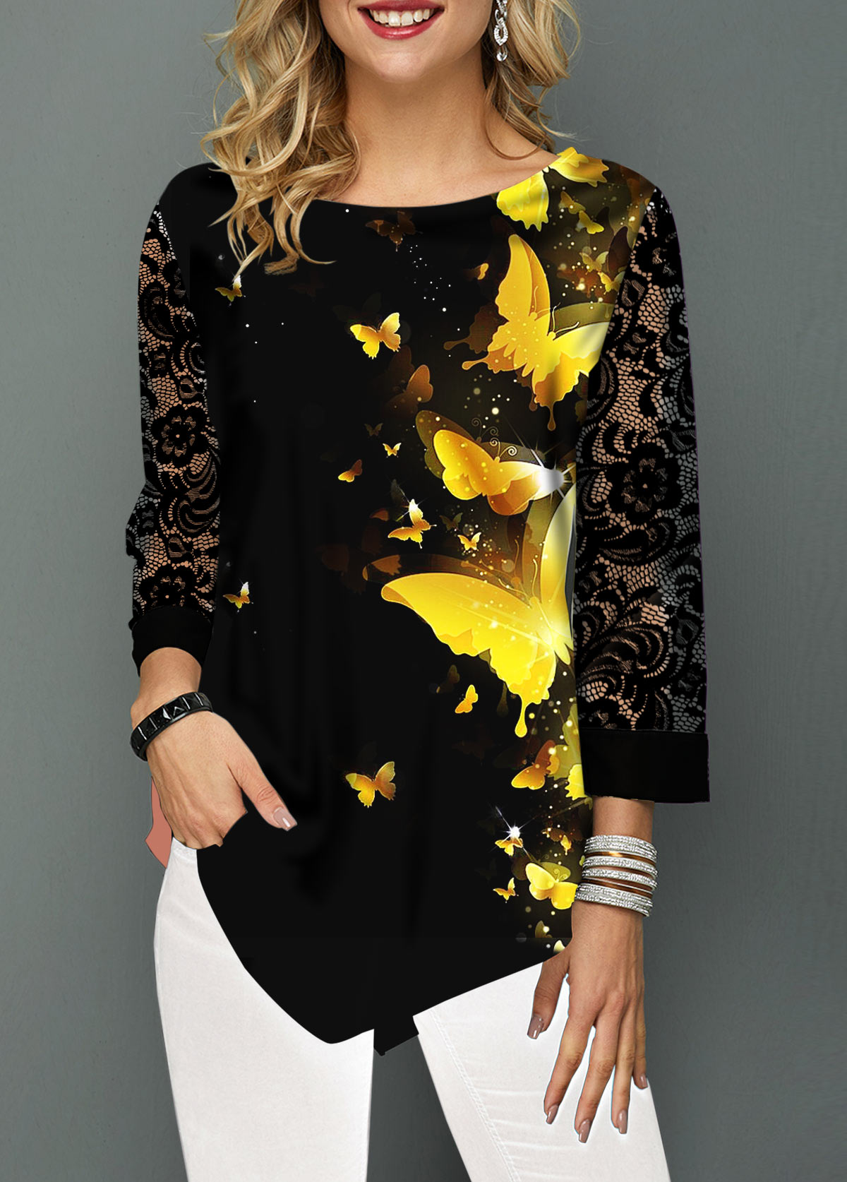 Butterfly Print Lace Panel Asymmetric Hem Blouse