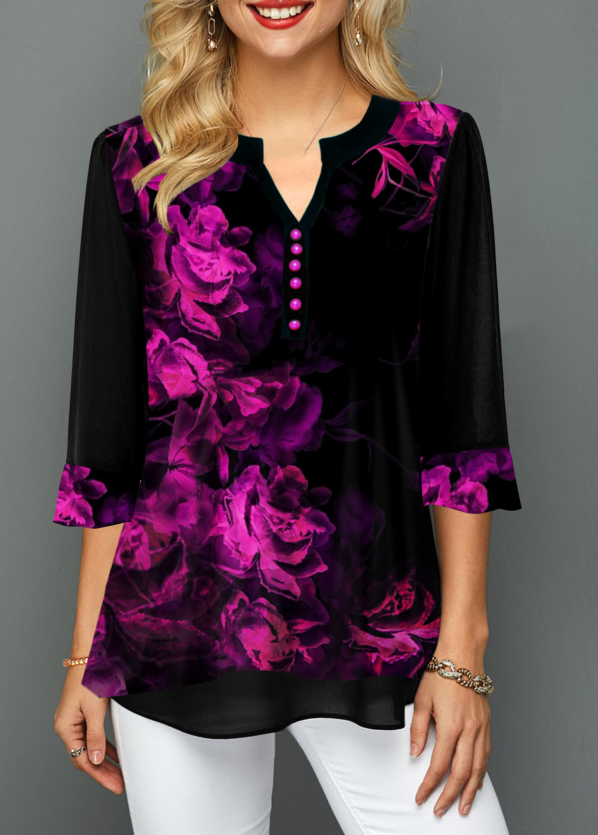 Button Detail Split Neck Gradient Flower Print Blouse