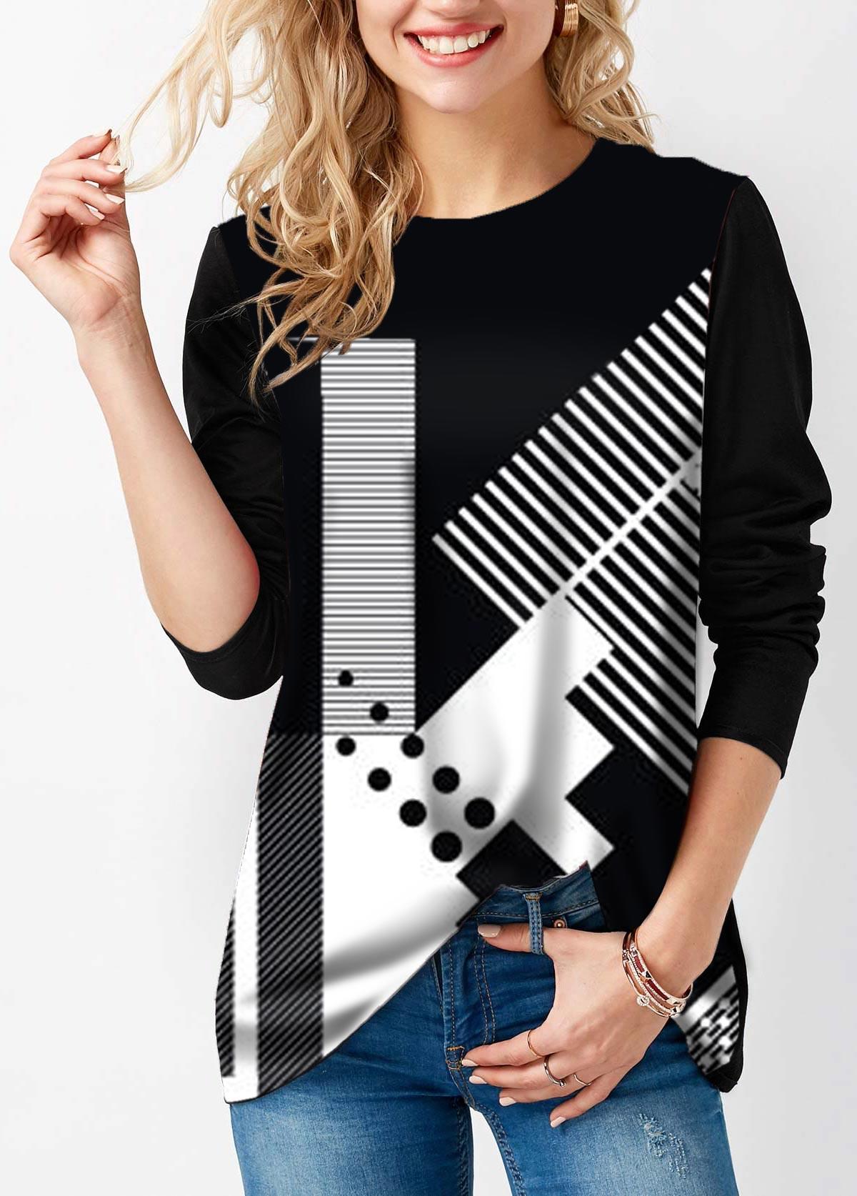 Geometric Print Long Sleeve Round Neck T Shirt