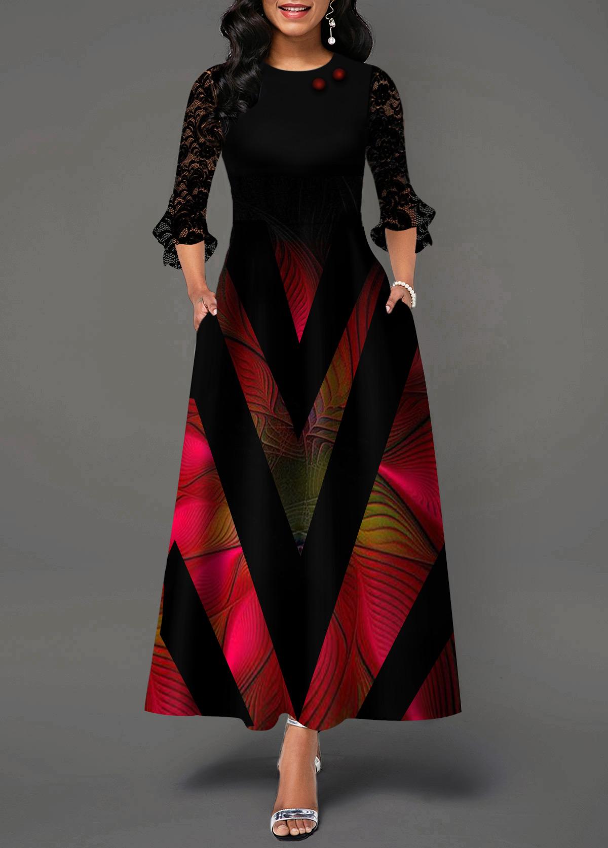 Lace Panel Flare Cuff Geometric Print Maxi Dress
