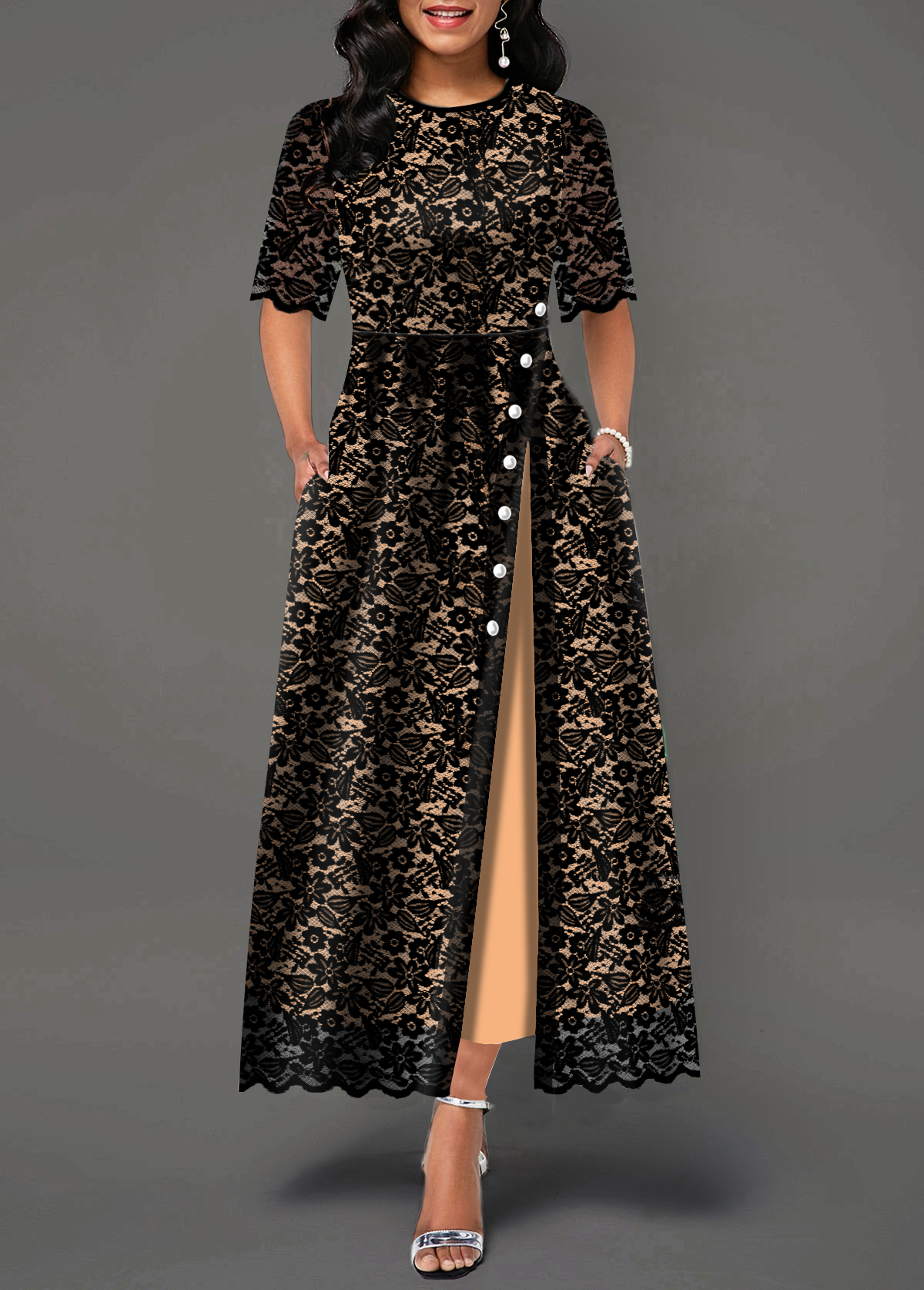 Half Sleeve Split Side Button Detail Lace Maxi Dress