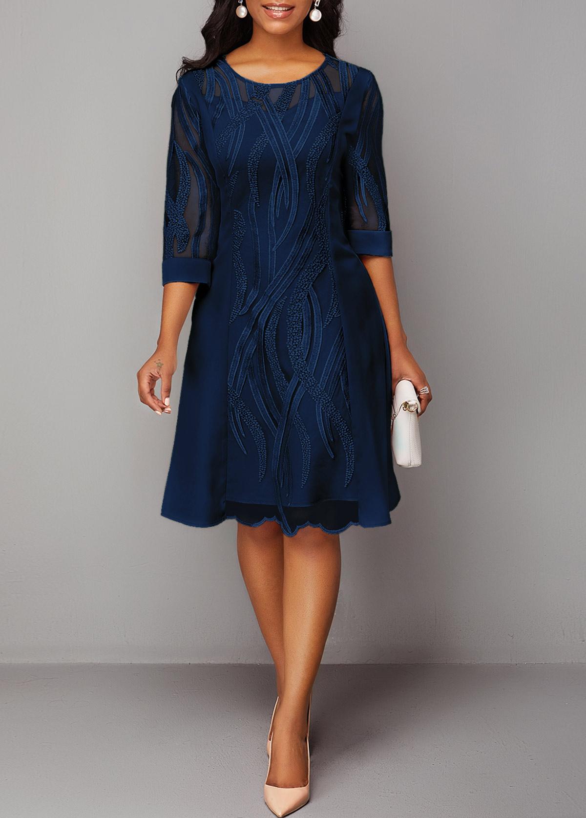 Navy Blue Three Quarter Sleeve Round Neck Lace Dress