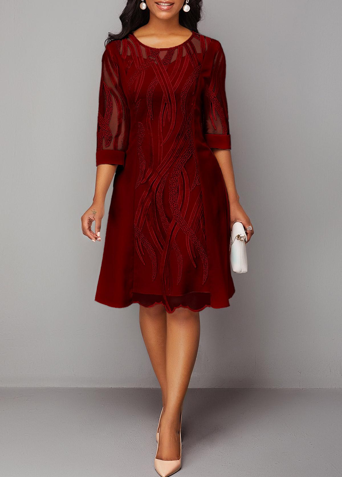Wine Red Round Neck Back Zipper Lace Dress
