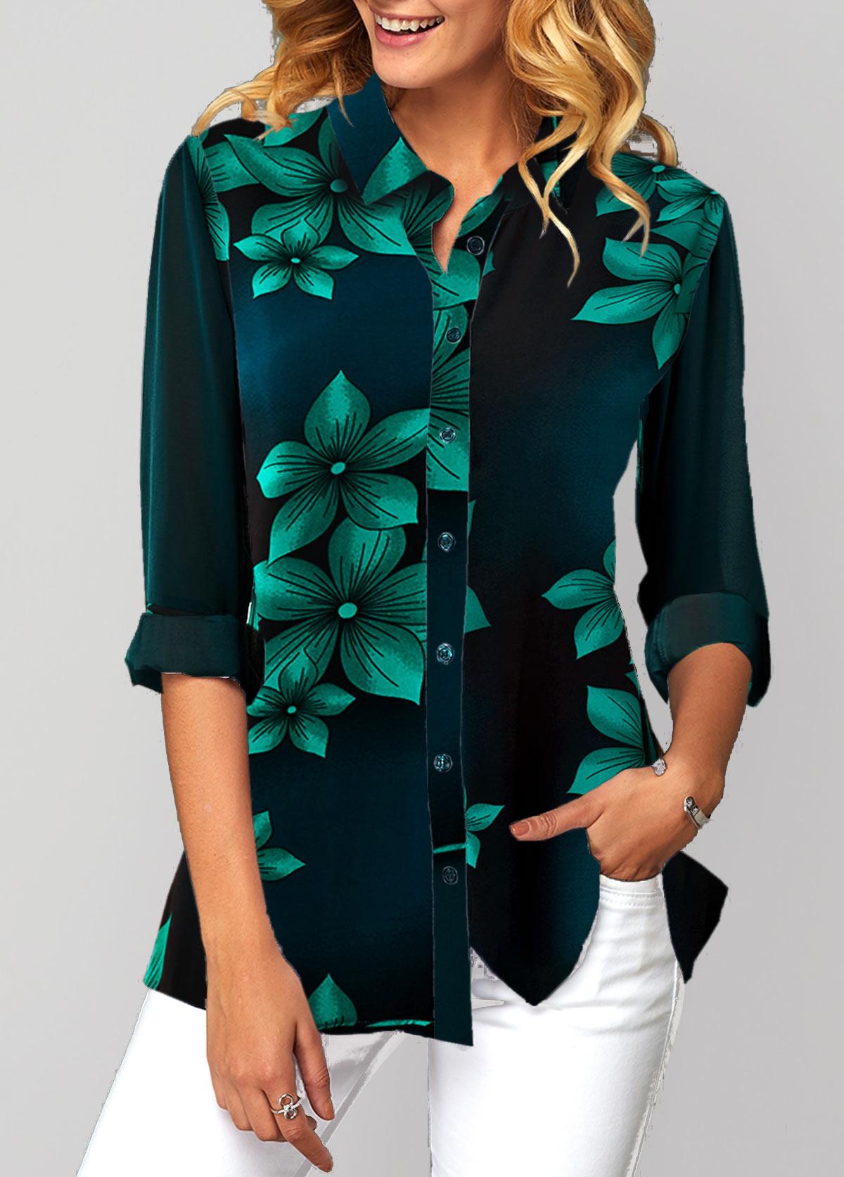 Button Up Flower Print Turndown Collar Shirt