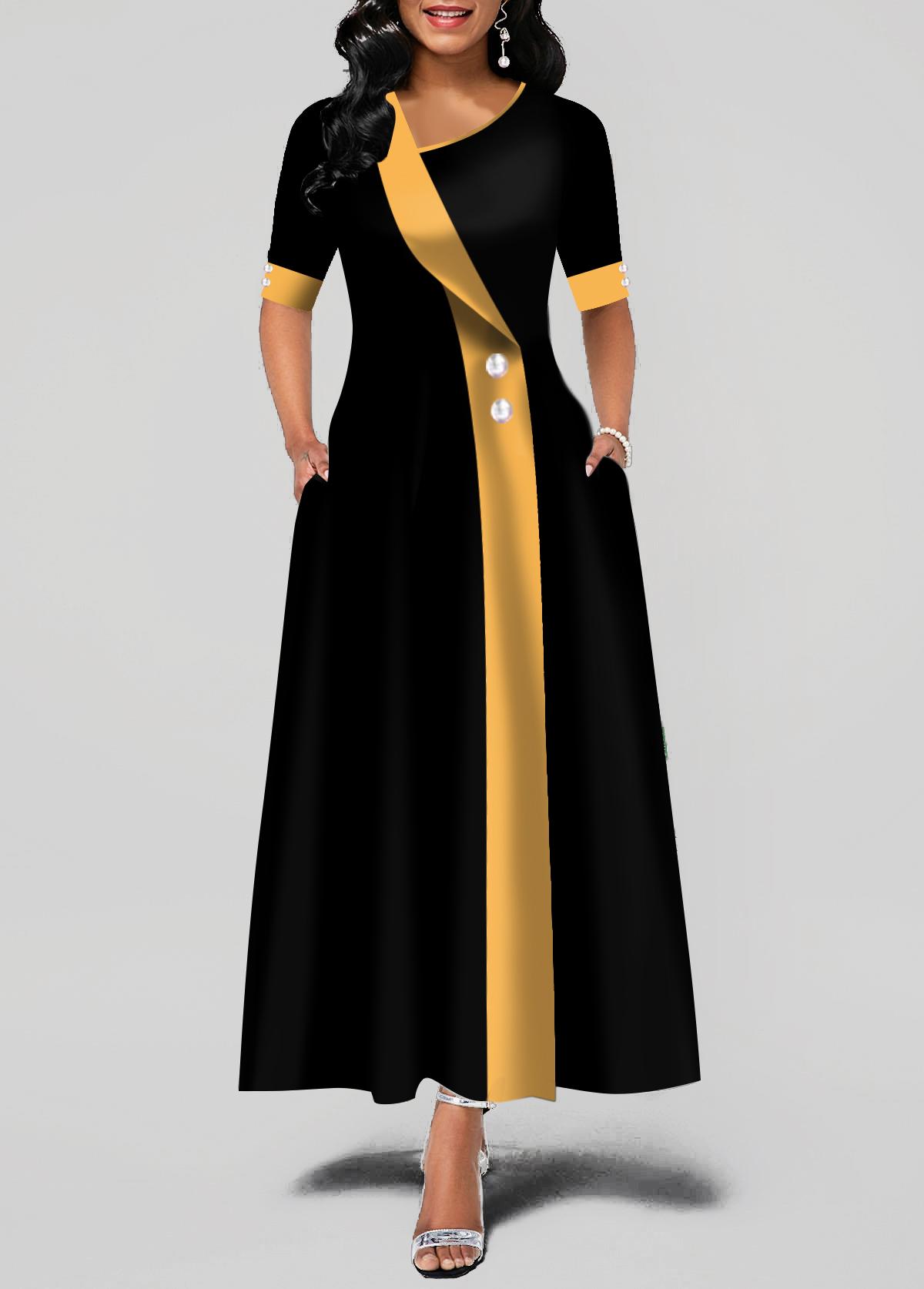 Asymmetric Neck Button Detail Pocket Maxi Dress