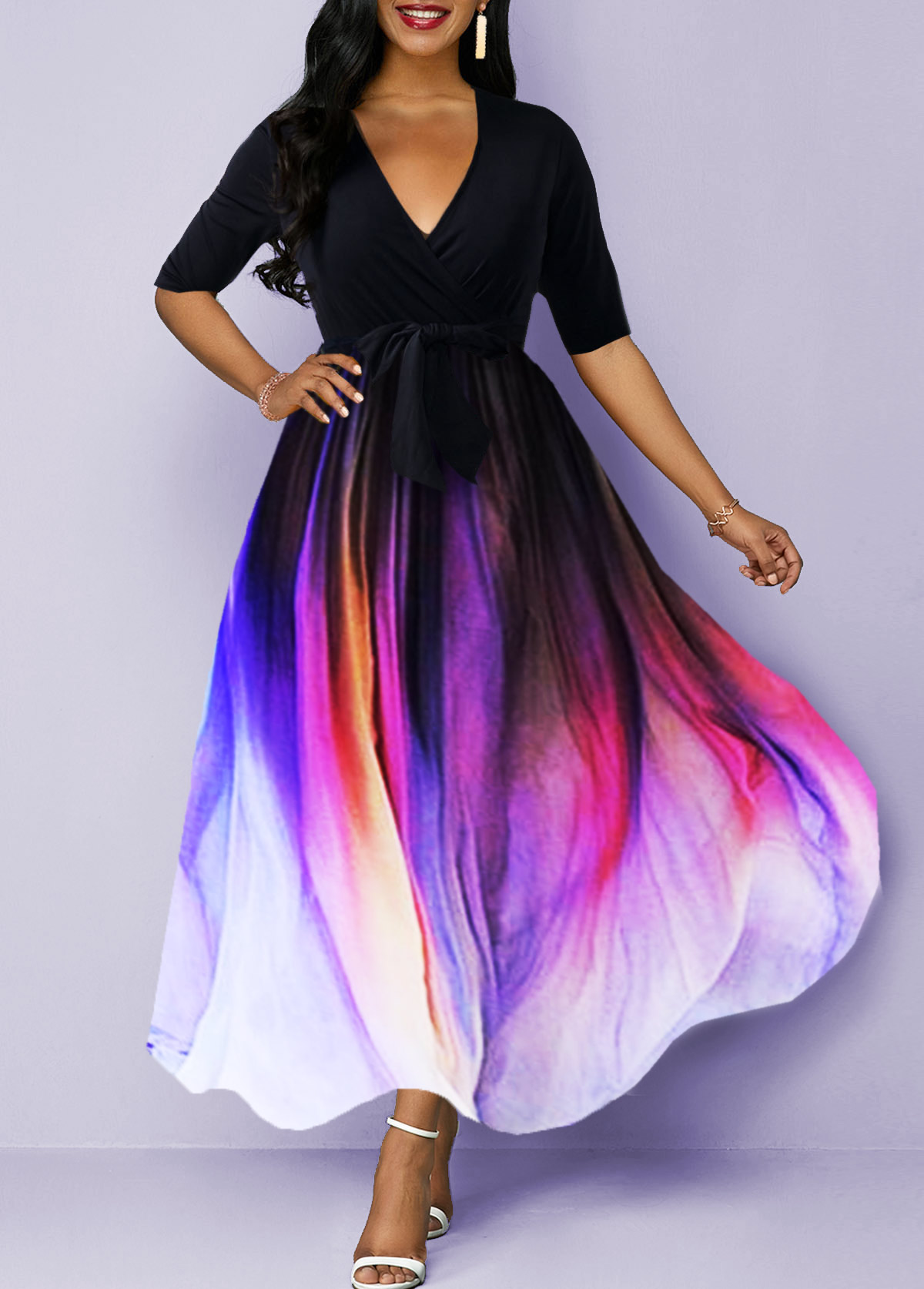 Gradient Half Sleeve Plunging Neck Belted Maxi Dress