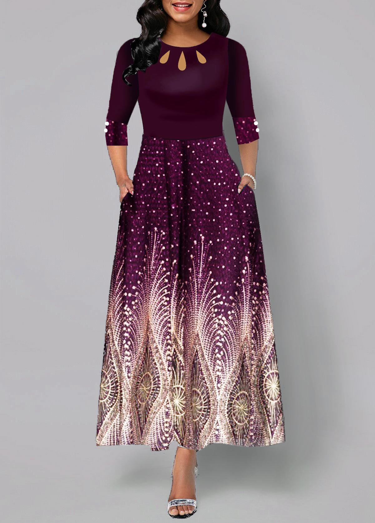 Button Detail Tribal Print High Waist Maxi Dress