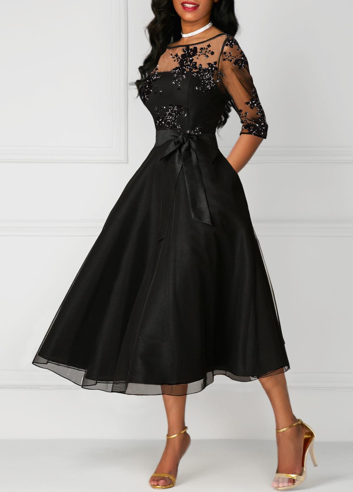 High Waist Lace Panel Three Quarter Sleeve Dress
