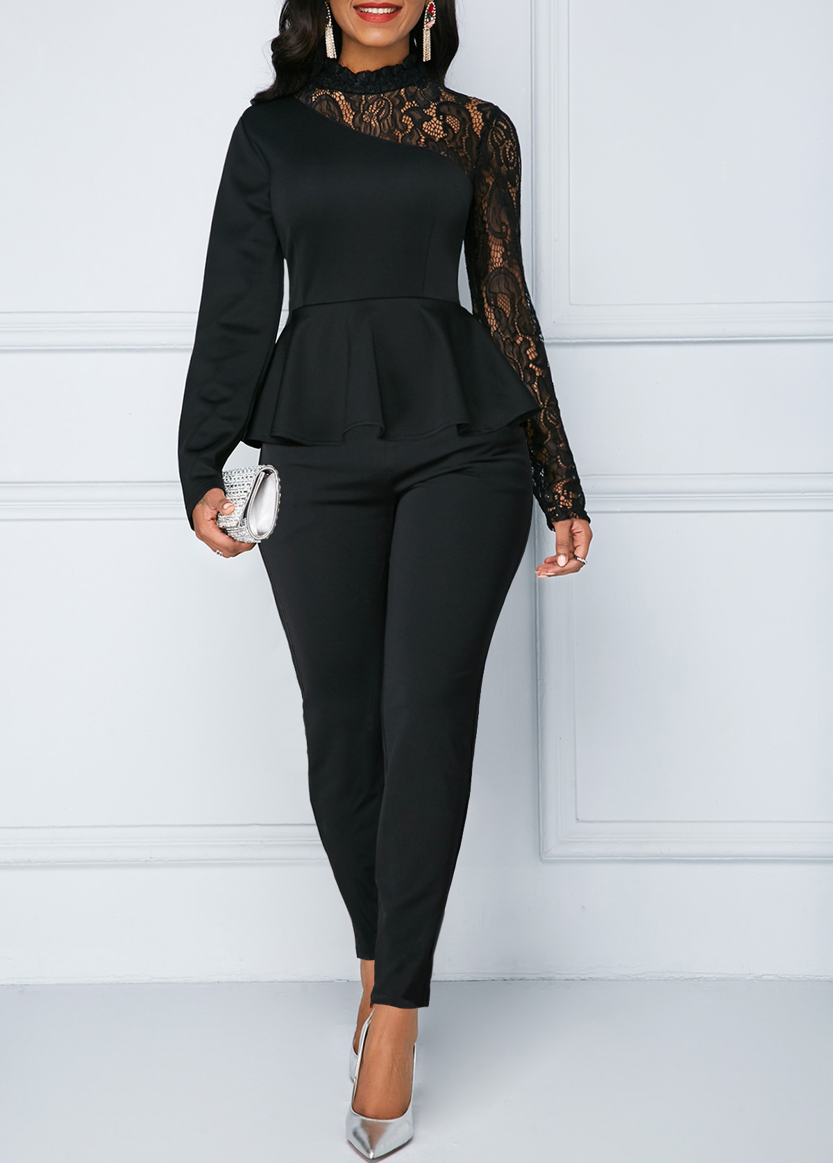 ROTITA Peplum Waist Lace Panel Long Sleeve Jumpsuit