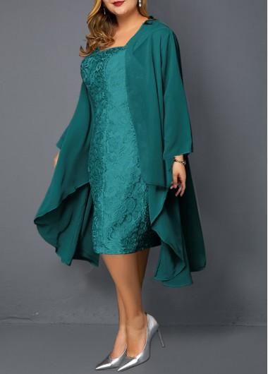 Plus Size Chiffon Cardigan and Sleeveless Turquoise Lace Dress