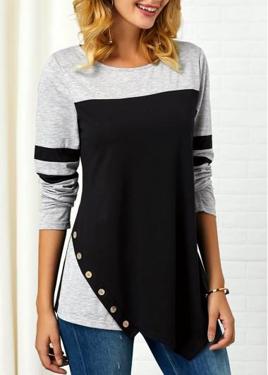 Long Sleeve Button Detail Asymmetric Hem T Shirt