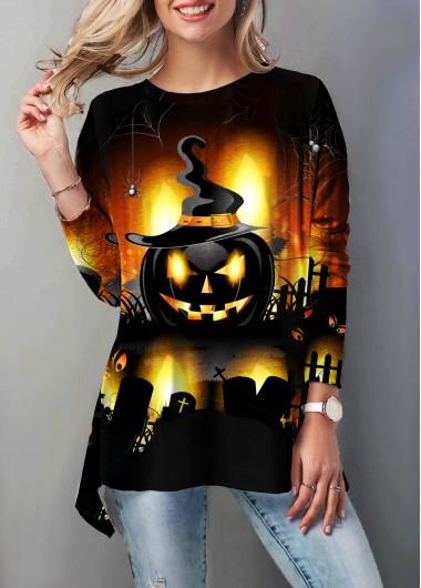 Round Neck Halloween Pumpkin Print T Shirt
