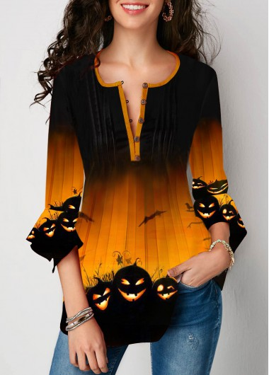 Flare Cuff Halloween Pumpkin Print Button Front Blouse