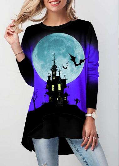 Halloween Print Dip Hem Button Detail T Shirt