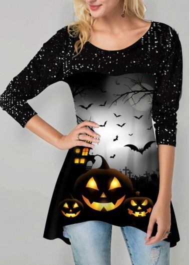 Halloween Print Asymmetric Hem Sequin Embellished T Shirt