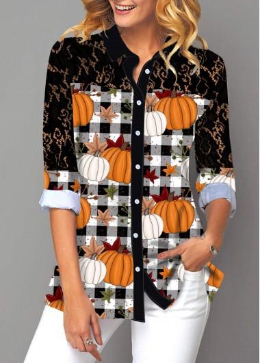 Pumpkin and Plaid Print Lace Panel Button Up Shirt