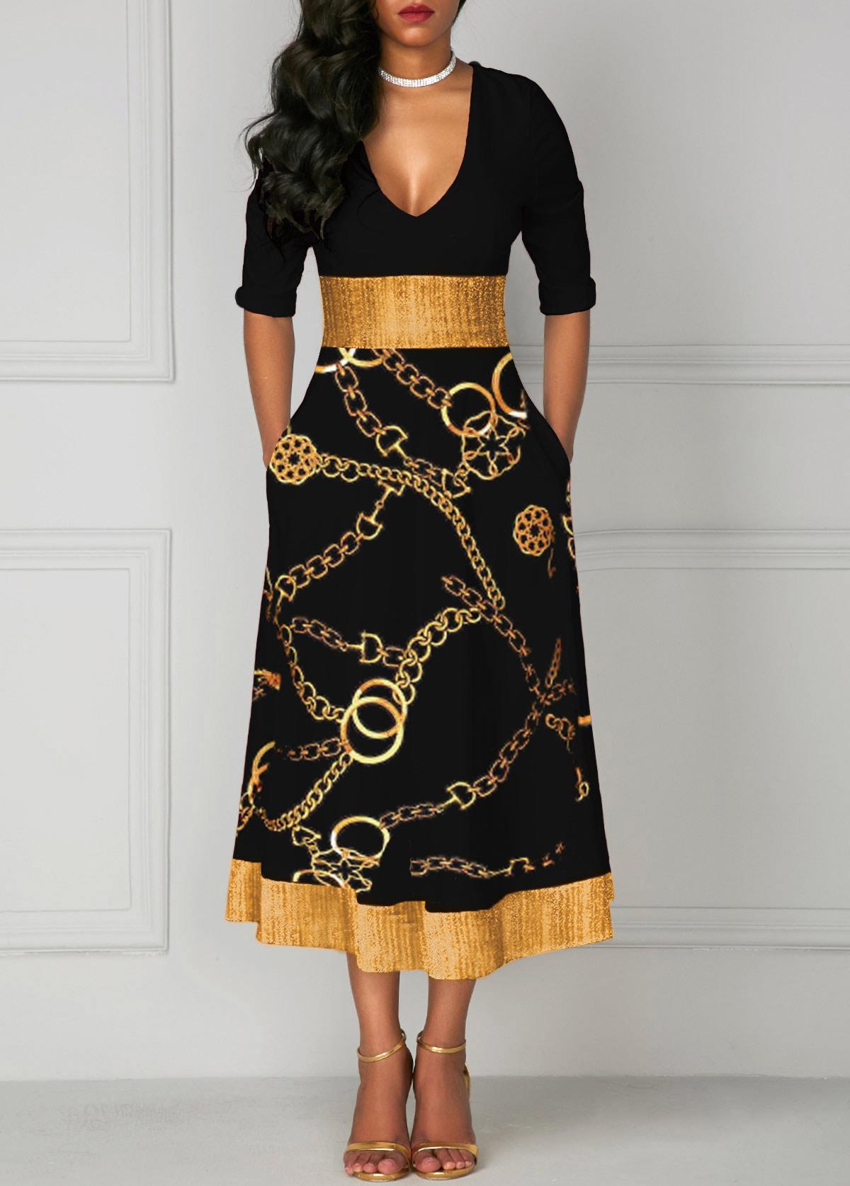 ROTITA Gold Chain Print V Neck Glitter Midi Dress