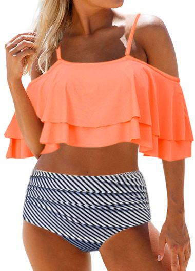 Strappy Cold Shoulder High Waist Layered Bikini Set
