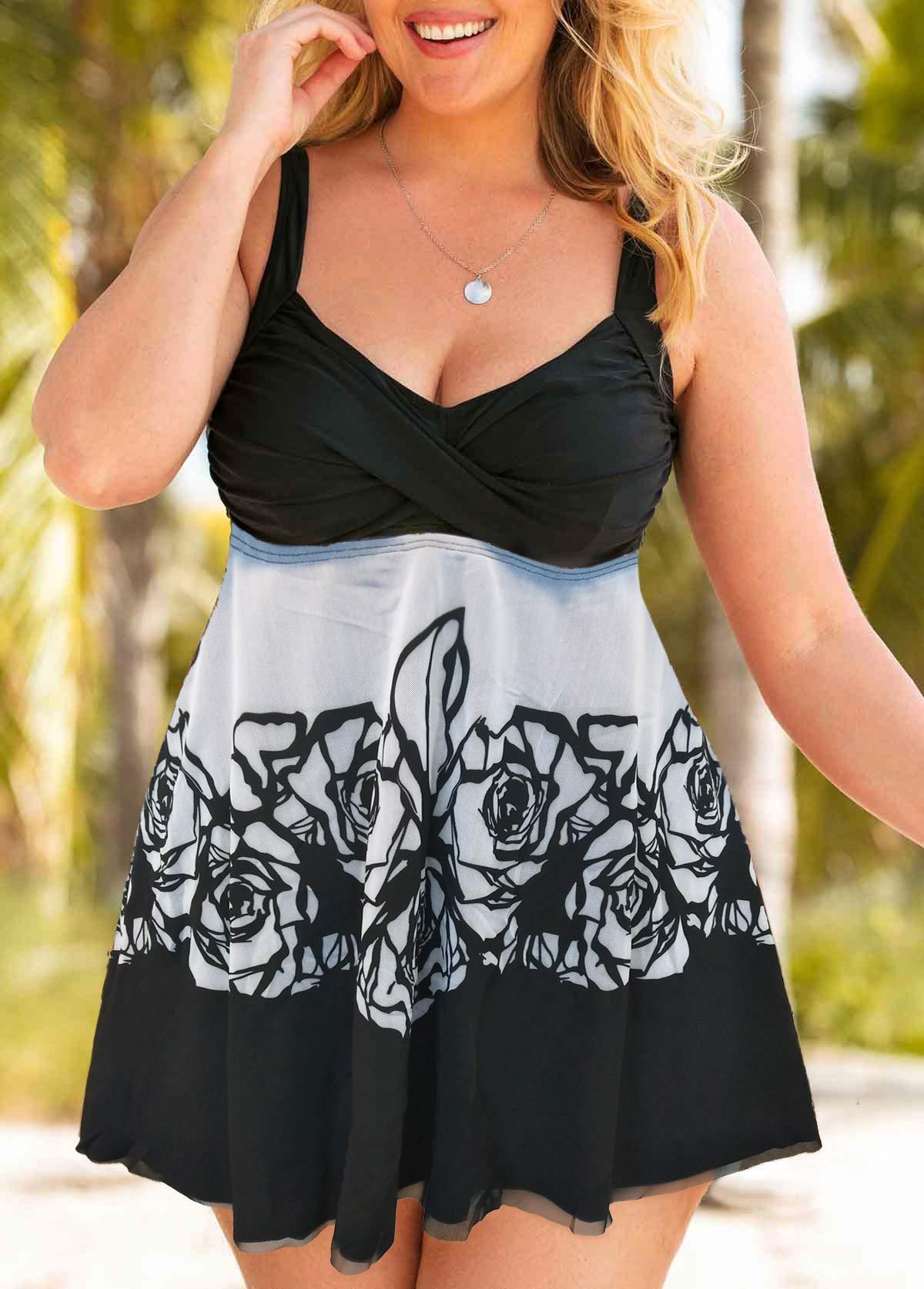 Flower Print Plus Size Swimdress and Shorts