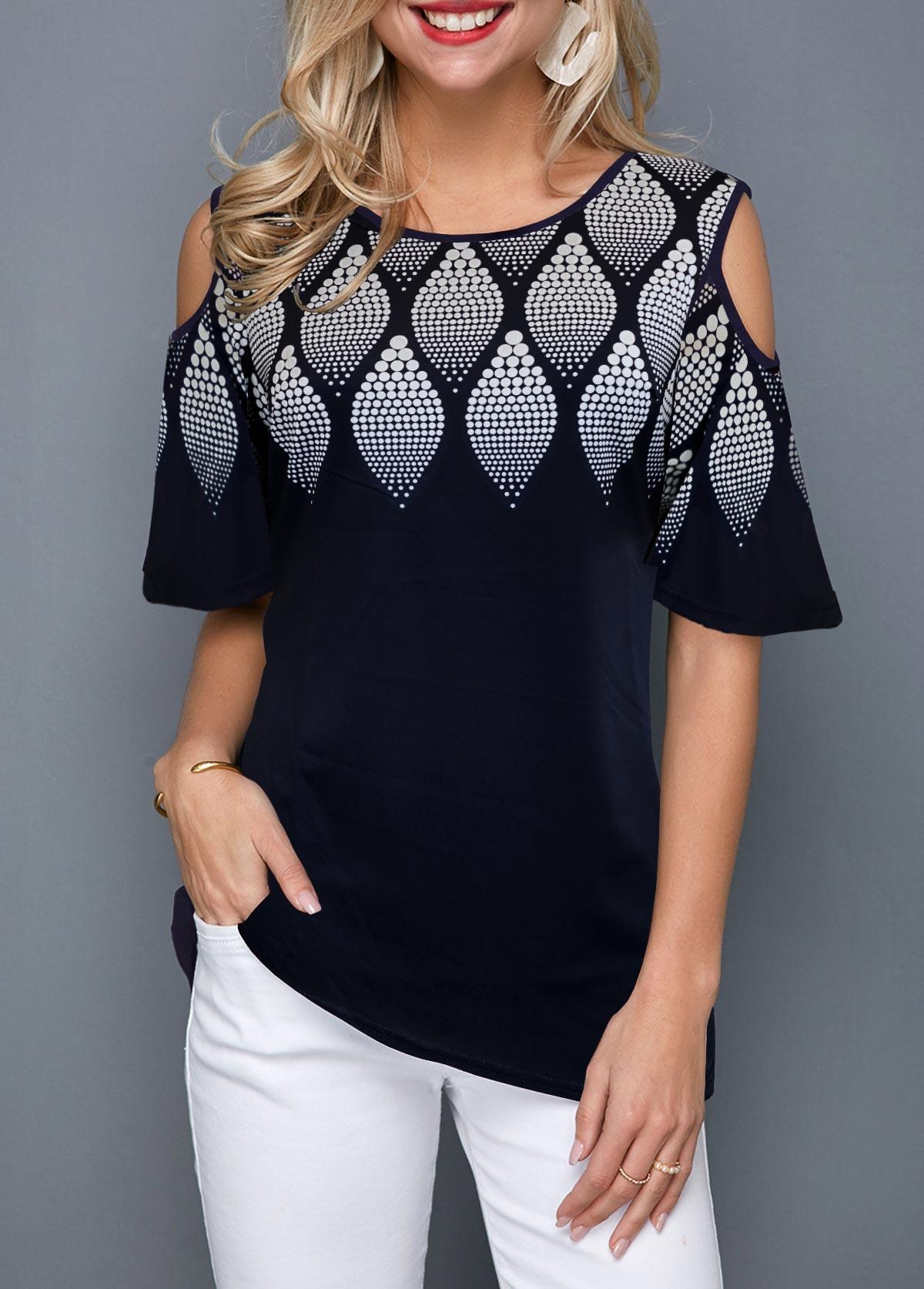 ROTITA Cold Shoulder Round Neck Printed T Shirt