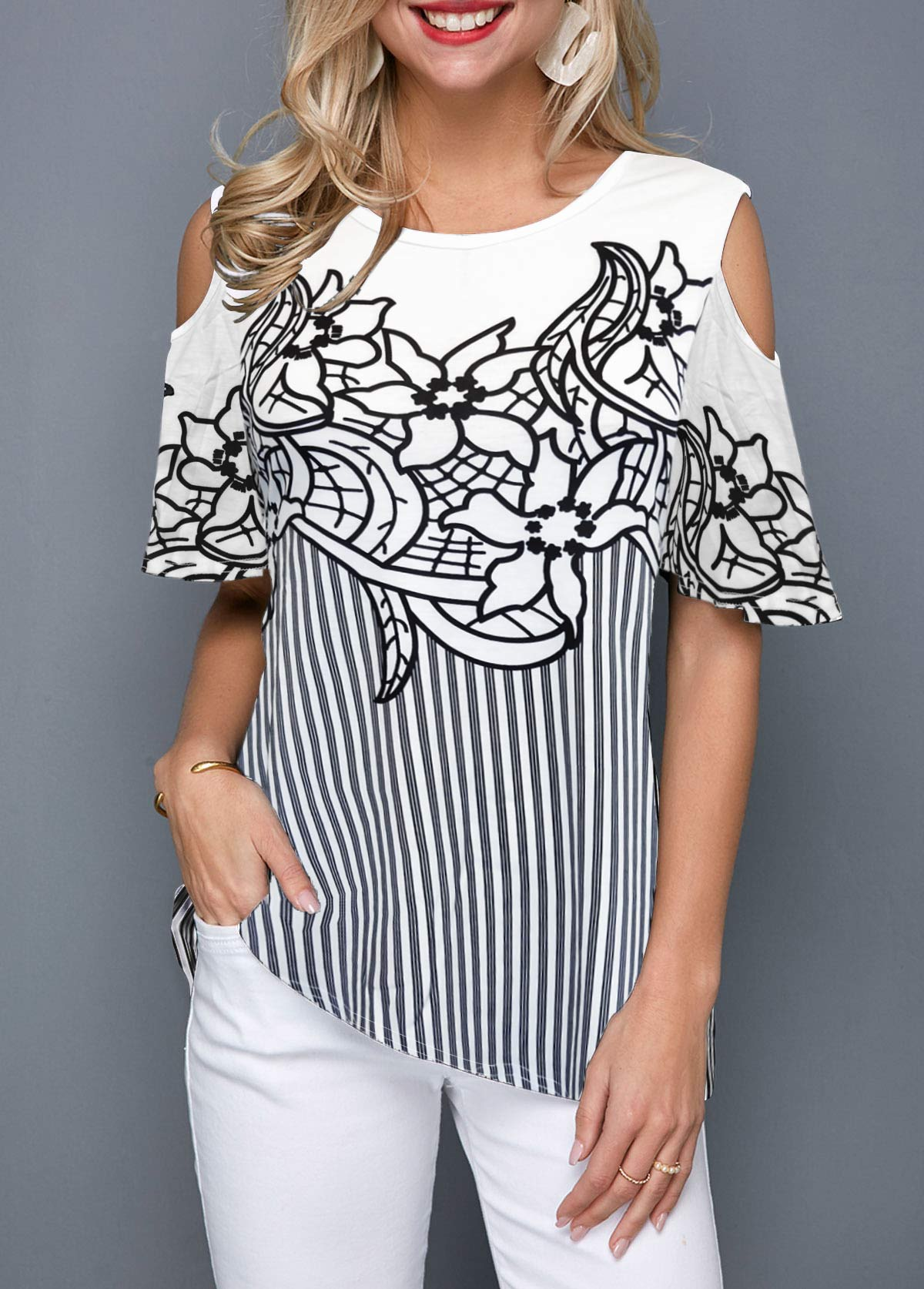 Cold Shoulder Flower Print Striped Blouse
