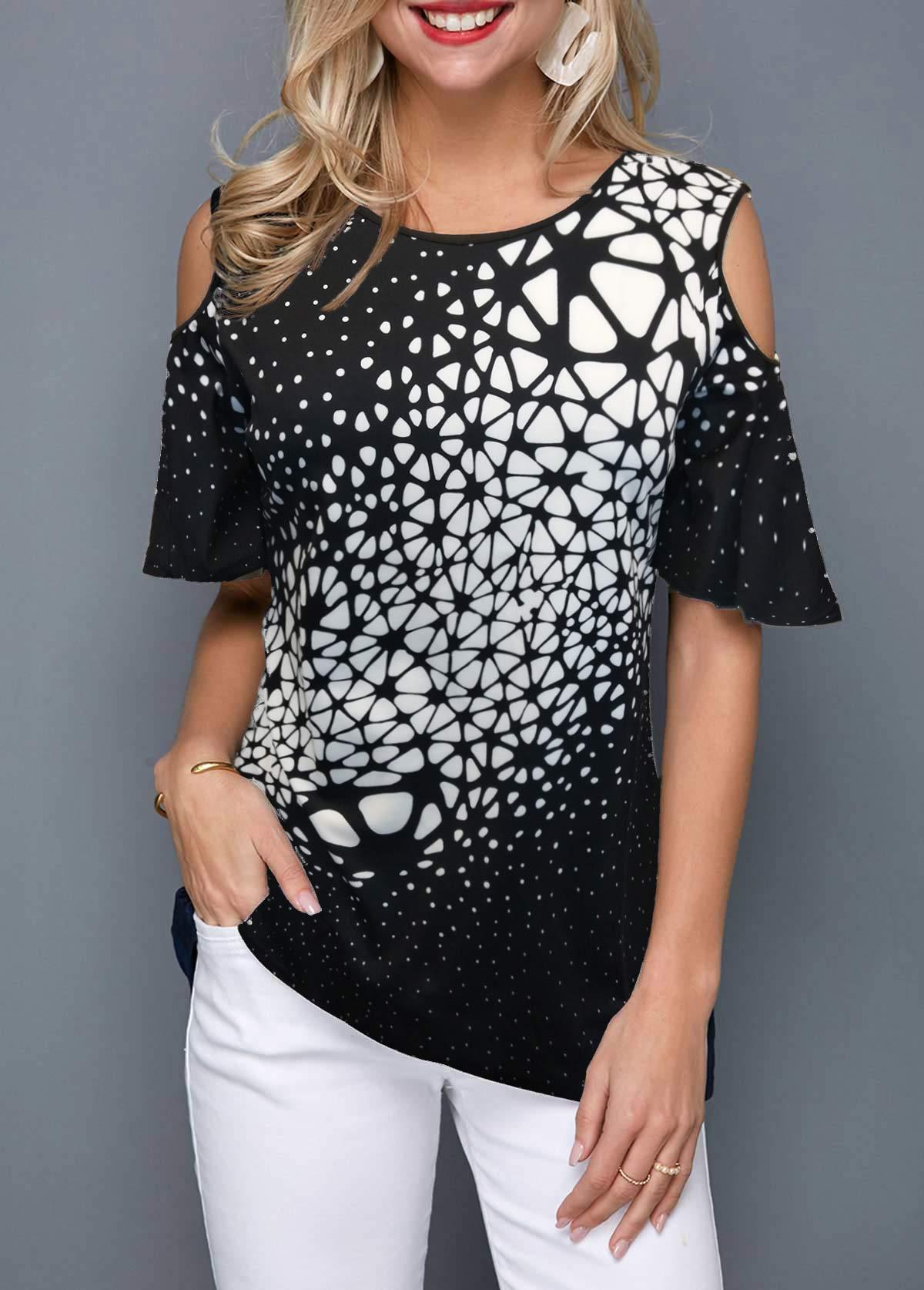 Geometric Print Cold Shoulder T Shirt