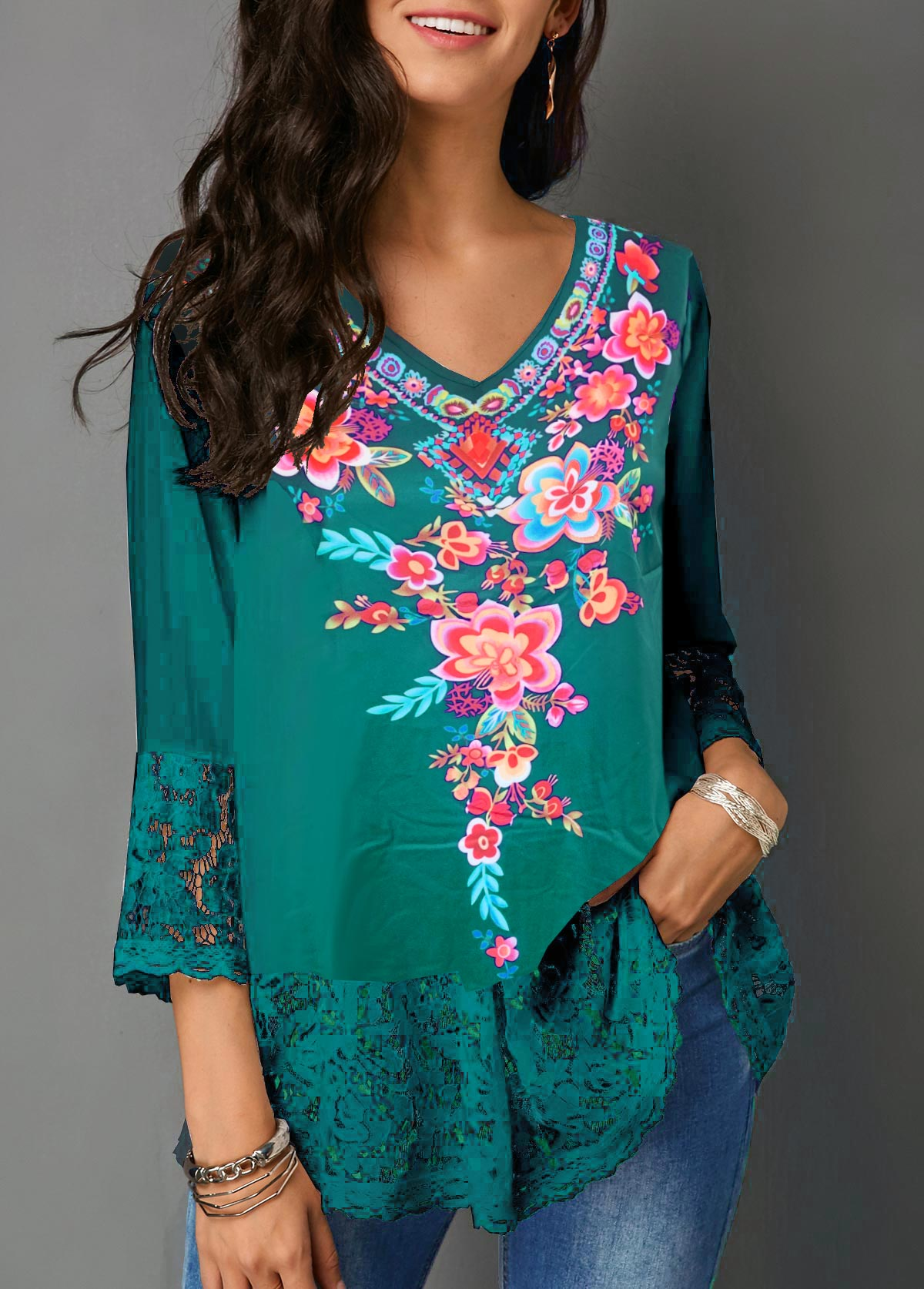 Retro Flower Print Lace Panel Peacock Blue Blouse