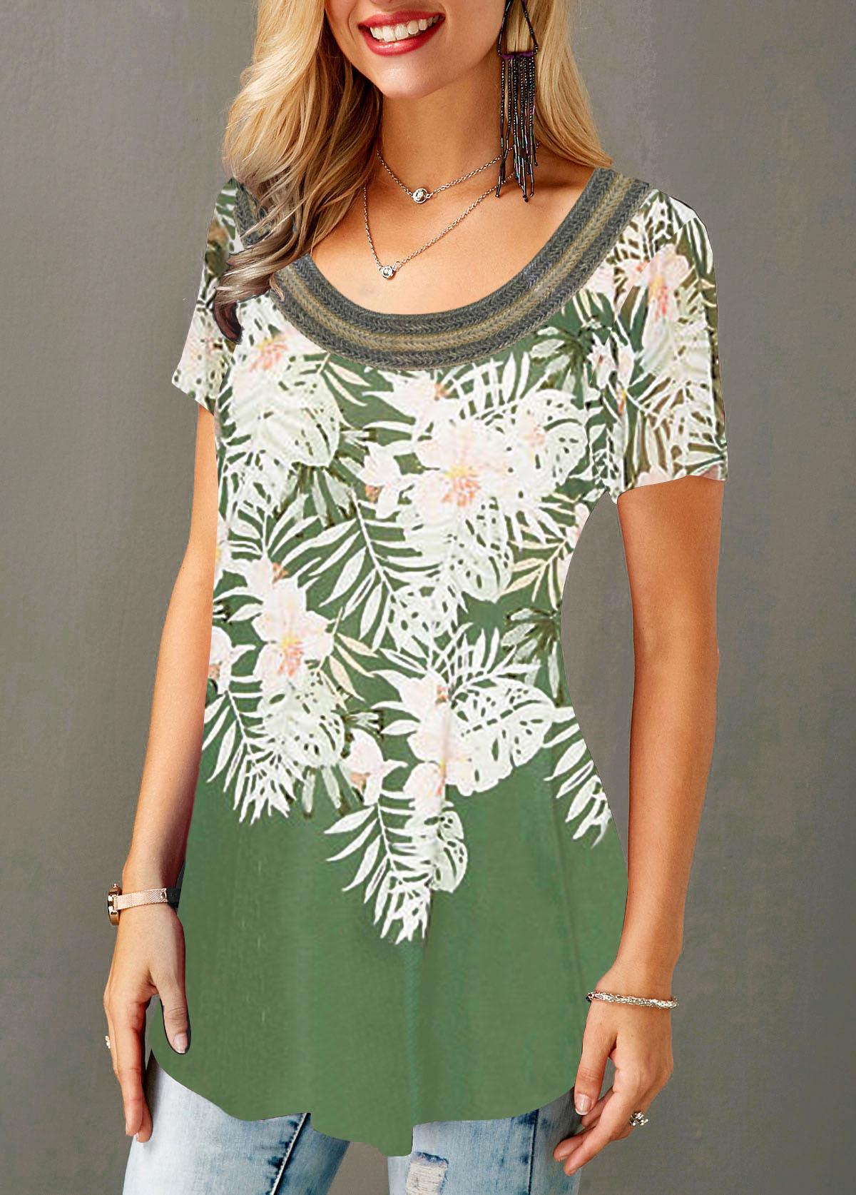 ROTITA Curved Hem Flower Print Short Sleeve T Shirt