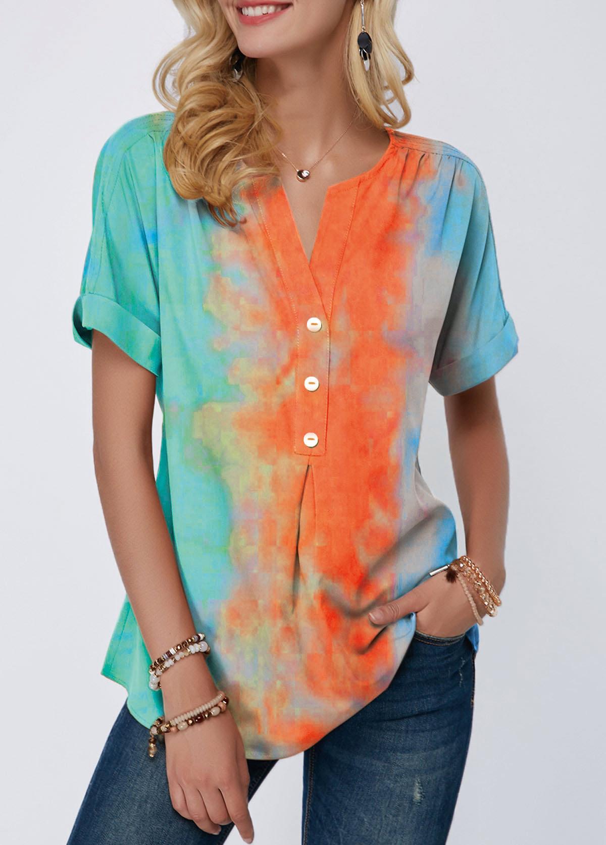 Split Neck Button Detail Tie Dye Print T Shirt