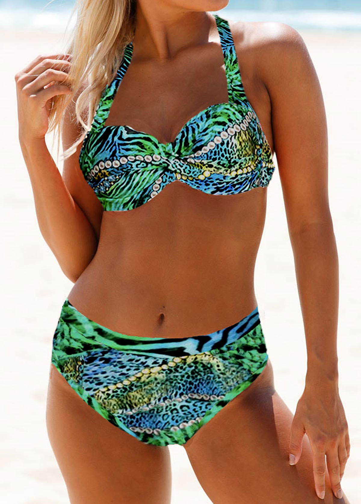 ROTITA Leopard Print Halter Neck Bikini Set