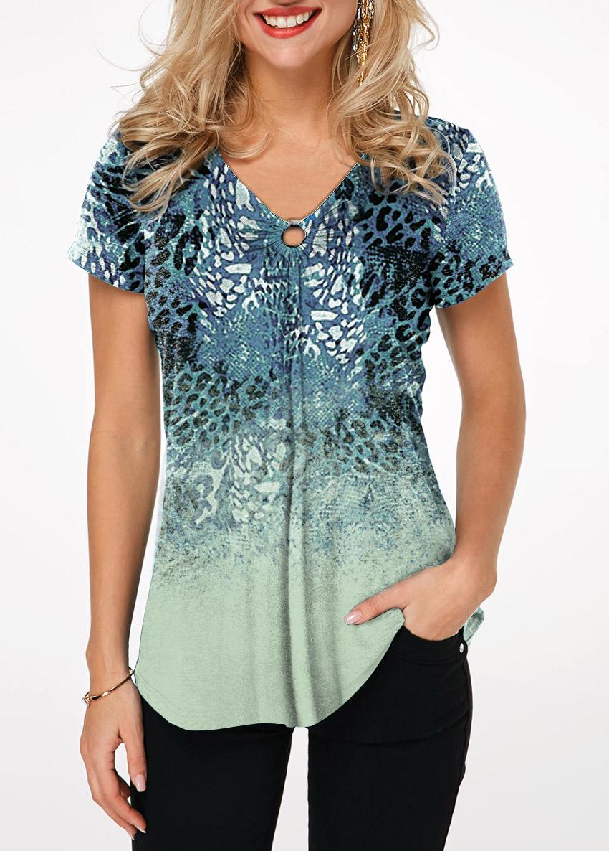 V Neck Ring Detail Leopard Print T Shirt