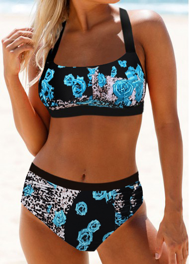 ROTITA Spaghetti Strap Tie Back Leopard Print Bikini Set
