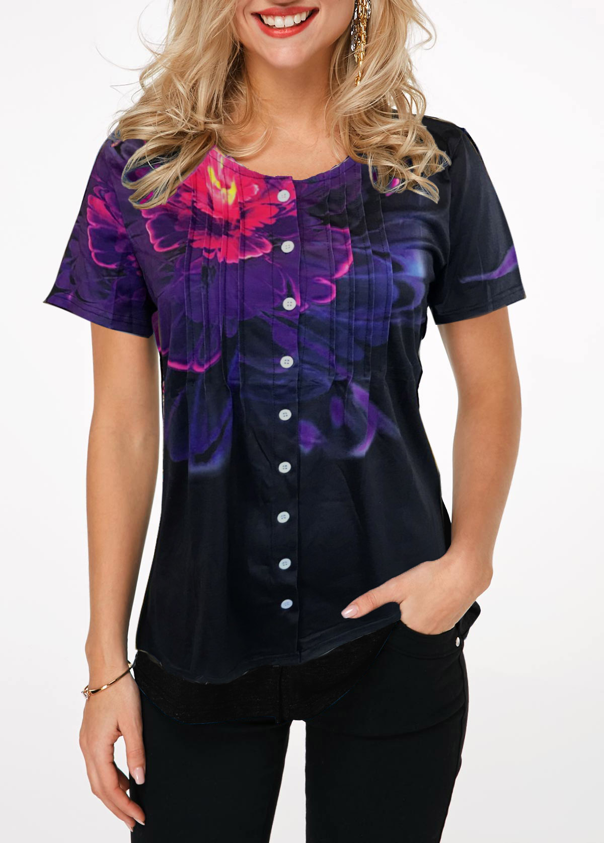 Button Up Crinkle Chest Black T Shirt