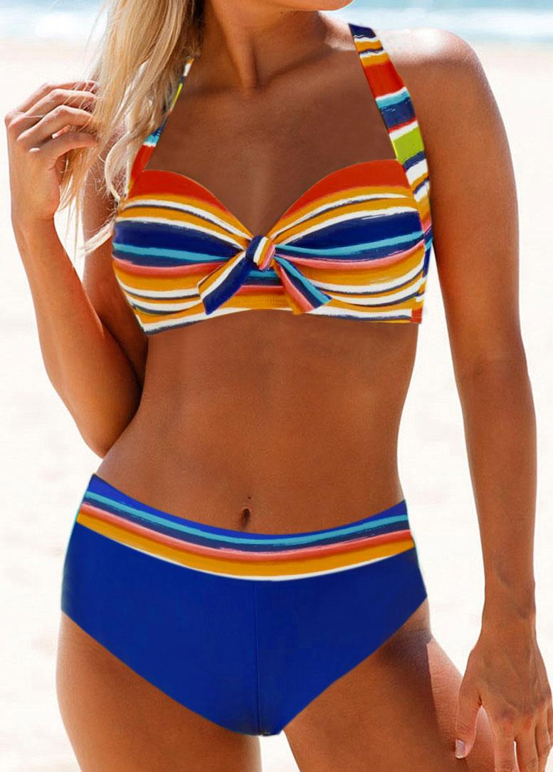 ROTITA Knot Detail Multicolor Striped Bikini Set