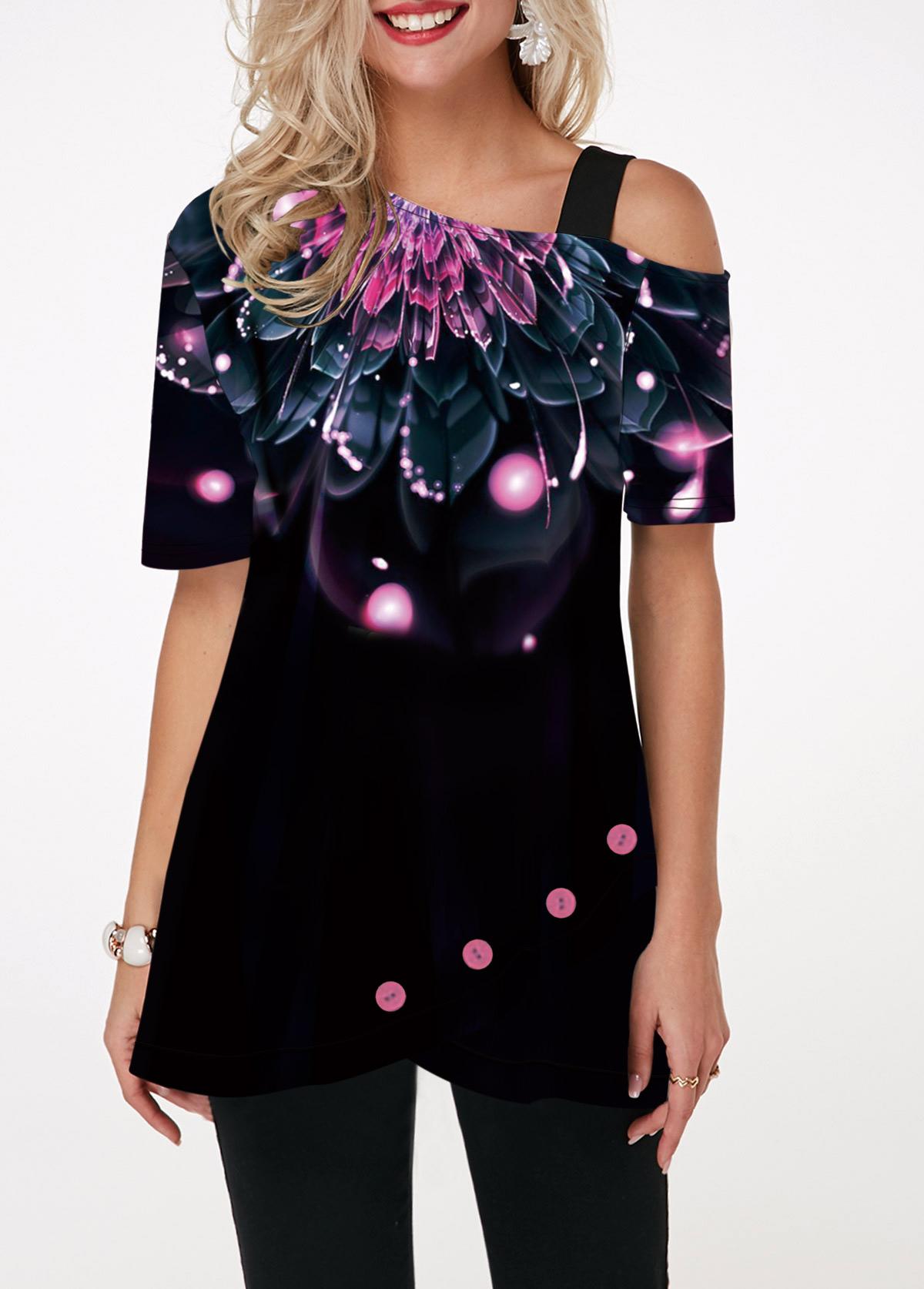 Dazzle Color Short Sleeve Floral Print T Shirt