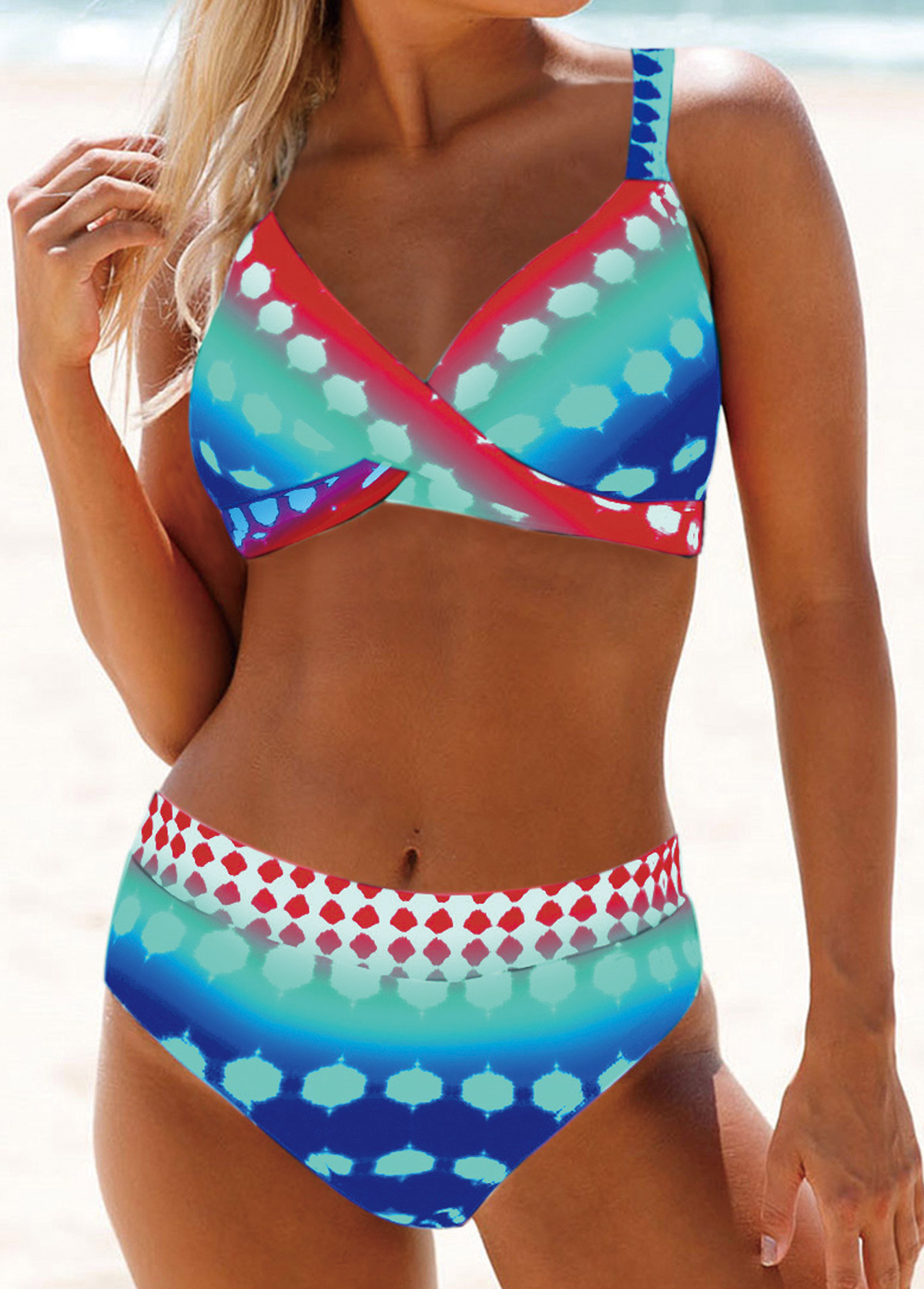 Cross Front High Waist Printed Bikini Set