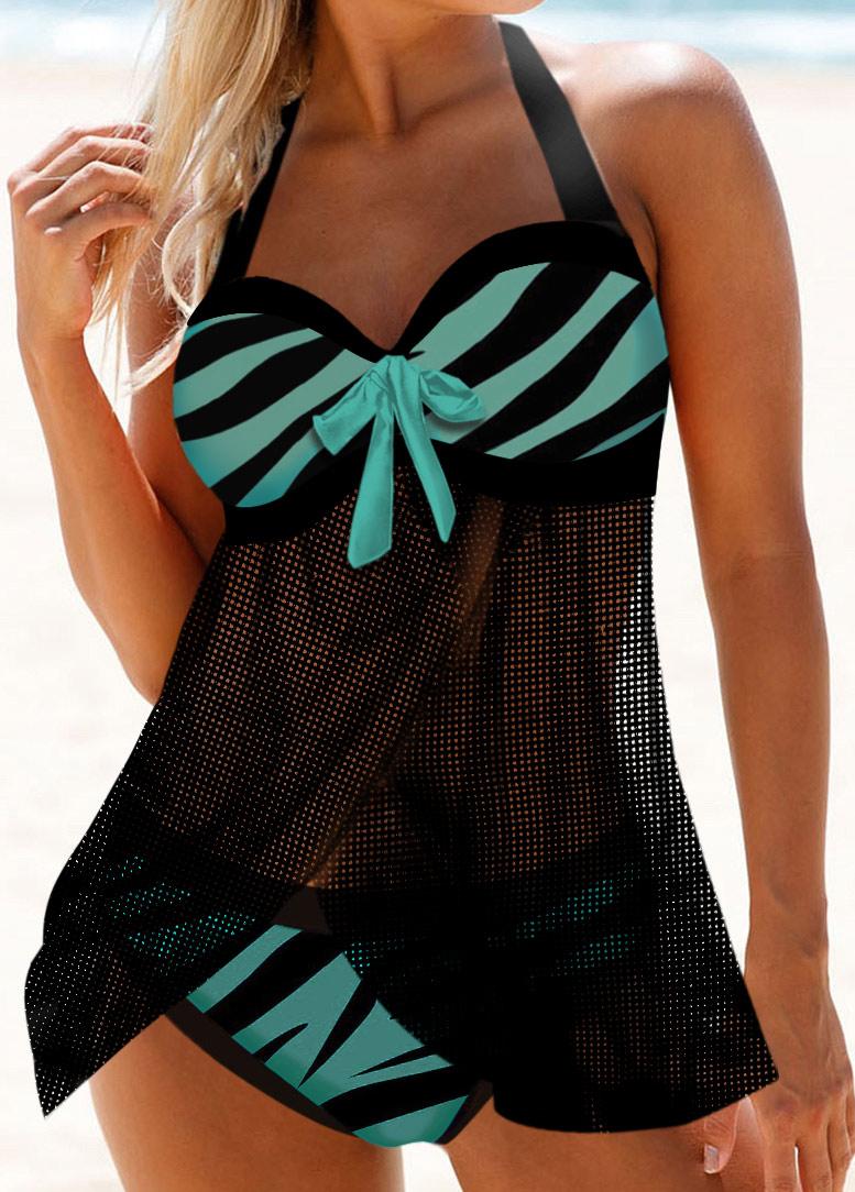 Zebra Print Bowknot Detail Halter Swimdress and Panty