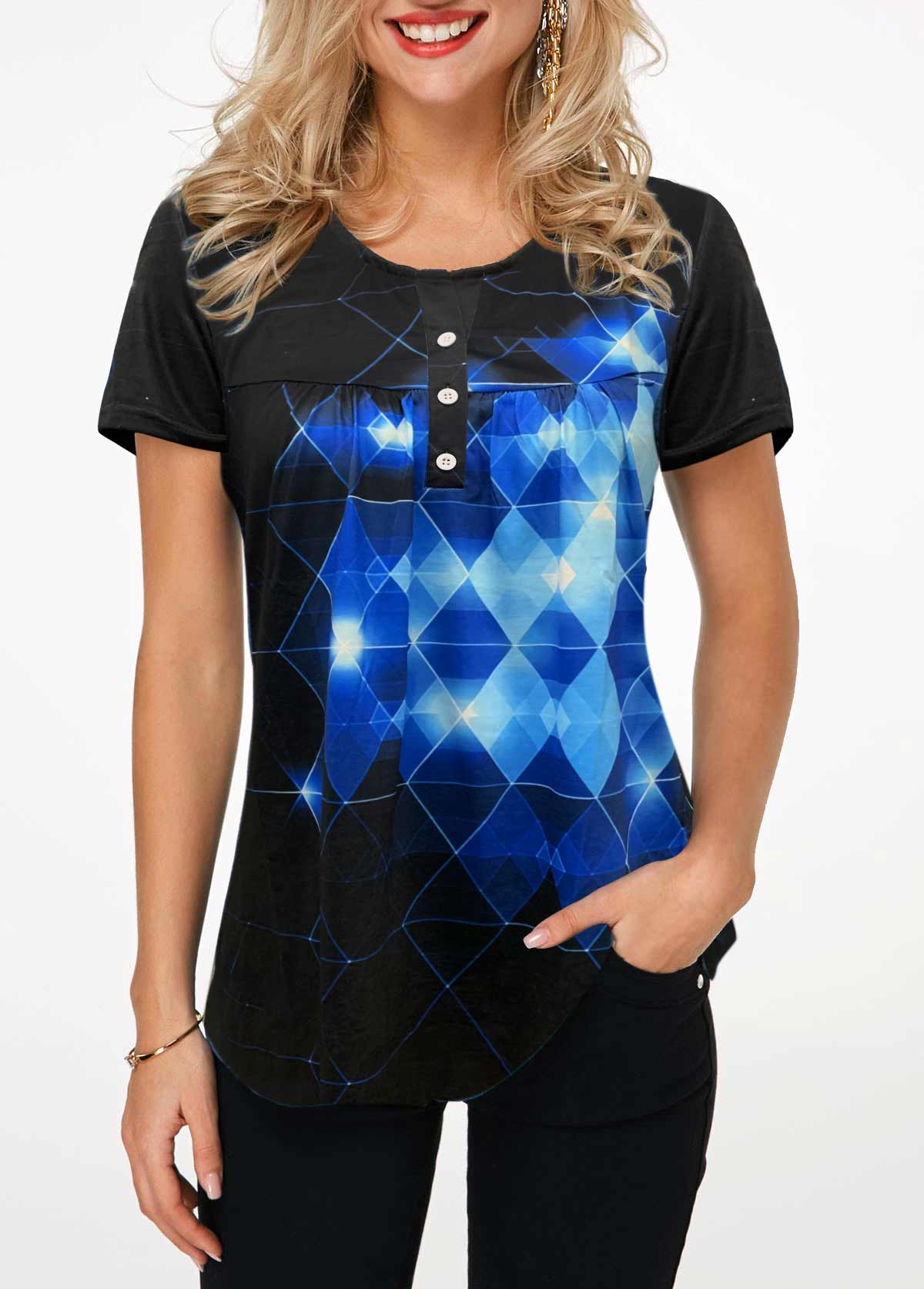 ROTITA Button Front Geometric Print Short Sleeve T Shirt