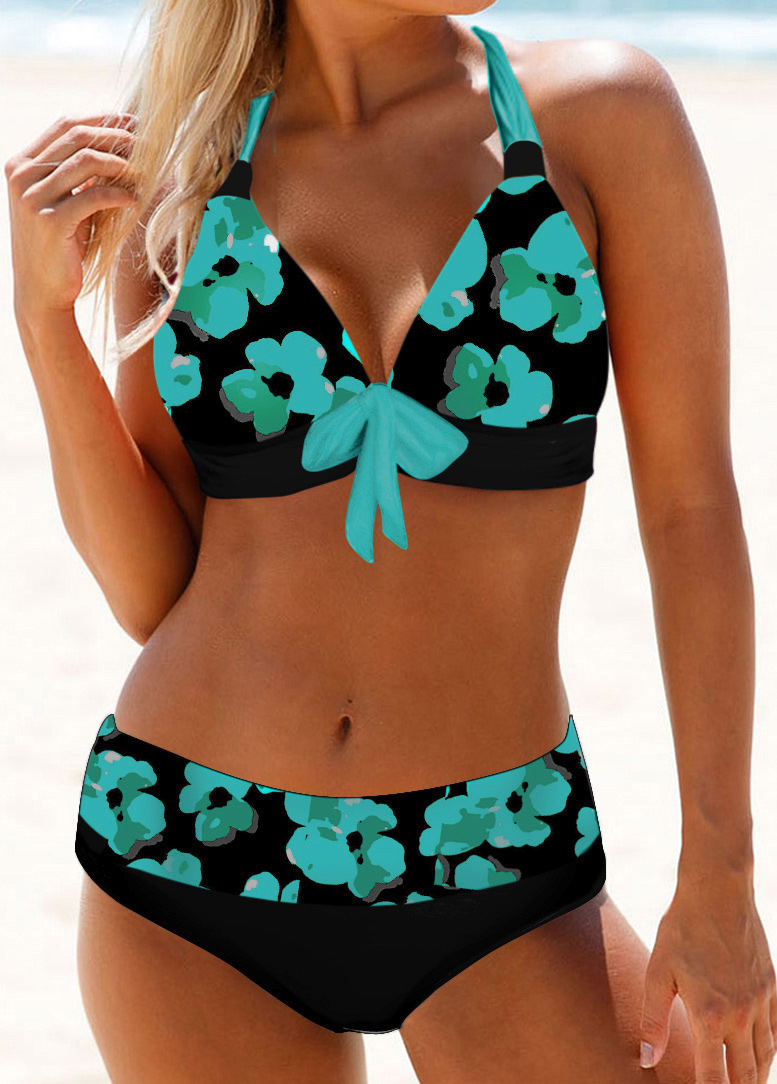 Bowknot Detail Floral Print Halter Neck Bikini Set