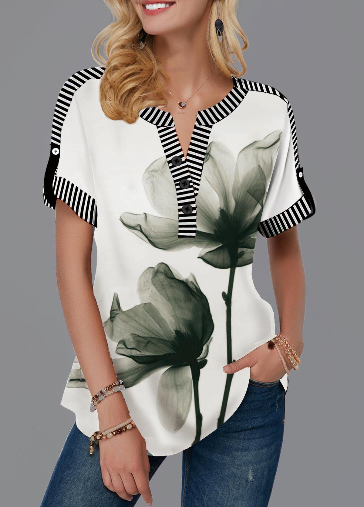 Roll Tab Sleeve Notch Neck Lotus Print T Shirt