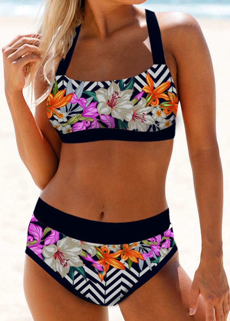 Tie Back High Waist Floral Print Bikini Set