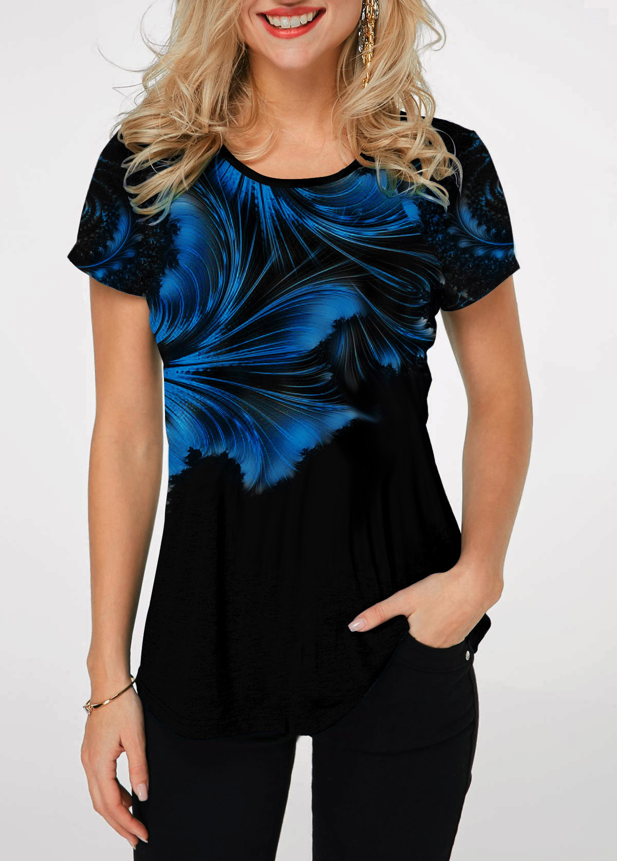 Short Sleeve Round Neck Printed T Shirt