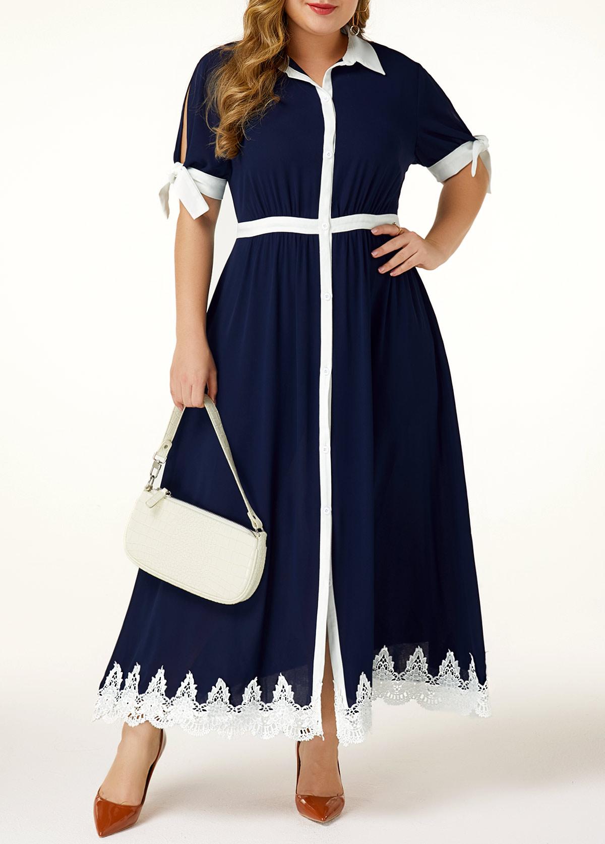 ROTITA Button Up Plus Size Turndown Collar Maxi Dress