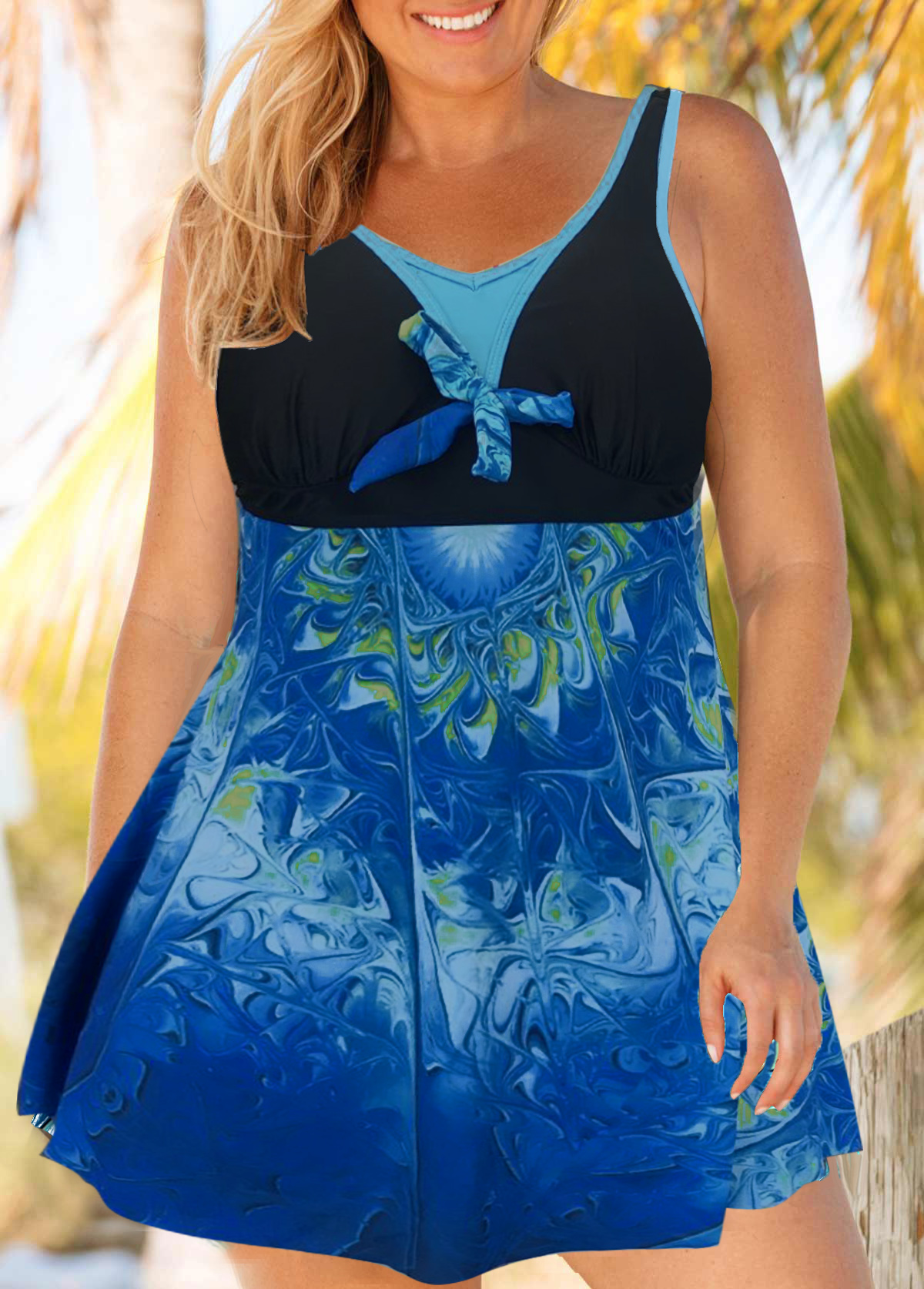 Plus Size Tie Front Cutout Back Printed Swimdress and Panty